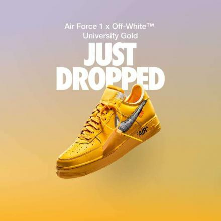 Off White Nike Air Force 1 Low University Gold DD1876 700 drop