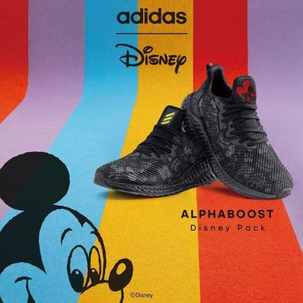 ミッキー・マウス × アディダス アルファブースト コア ブラック/フットウェア ホワイト/ブライト イエロー(FX7809)